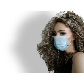 Mund-Nasen-Maske DFM 3-lagig, Vlies, Gummibänder, 50 Stück, blau